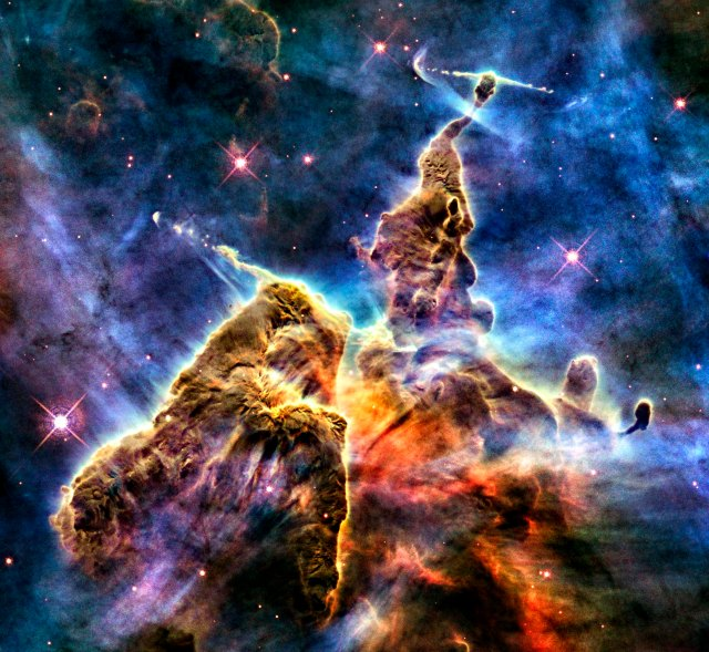 Hubble Captures View of 'Mystic Mountain' Credit: NASA, ESA, and M. Livio and the Hubble 20th Anniversary Team (STScI)